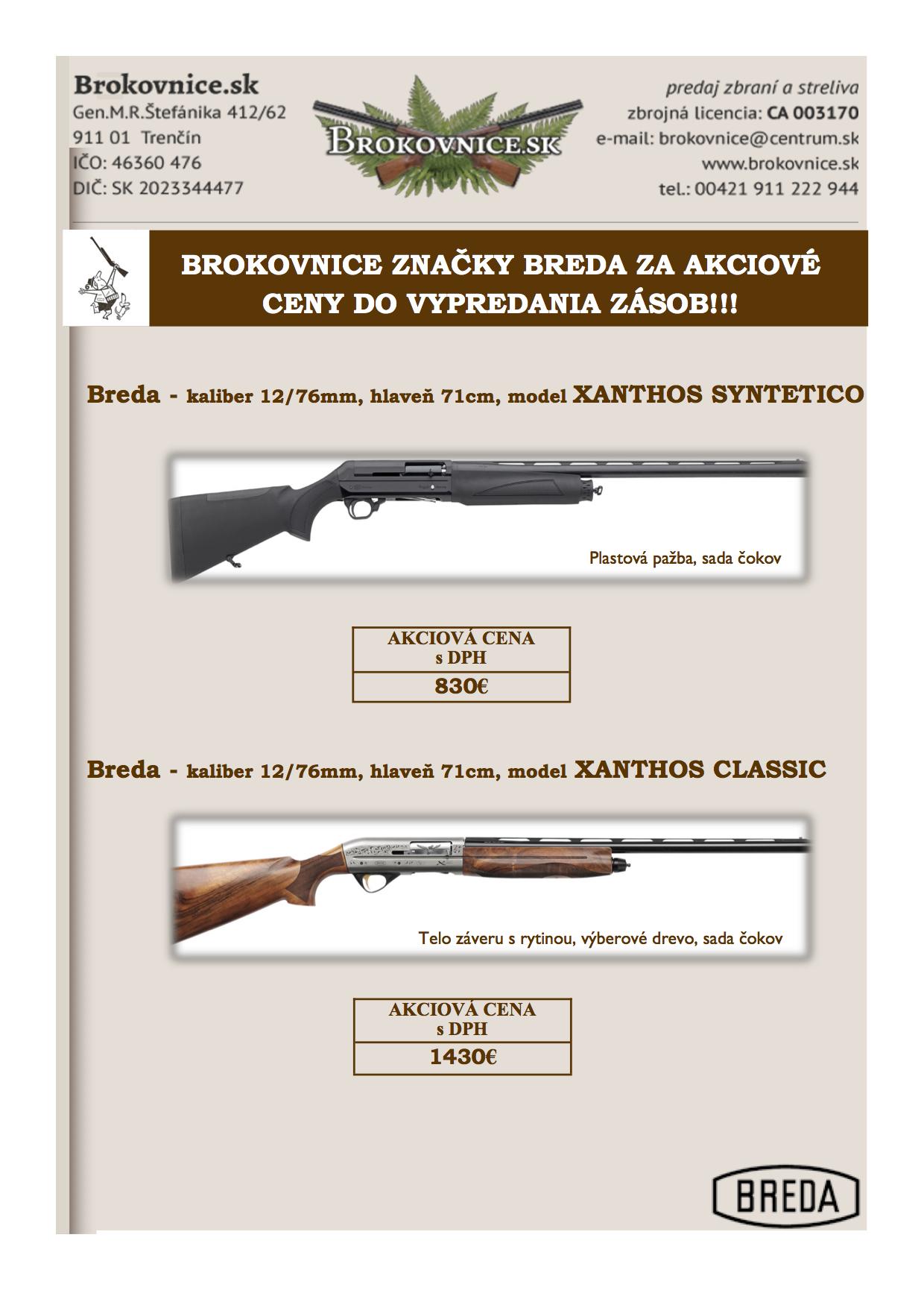 8951ad9c0b Pripravili sme pre vás akciovú ponuku na zbrane Breda až do vypredania  zásob!